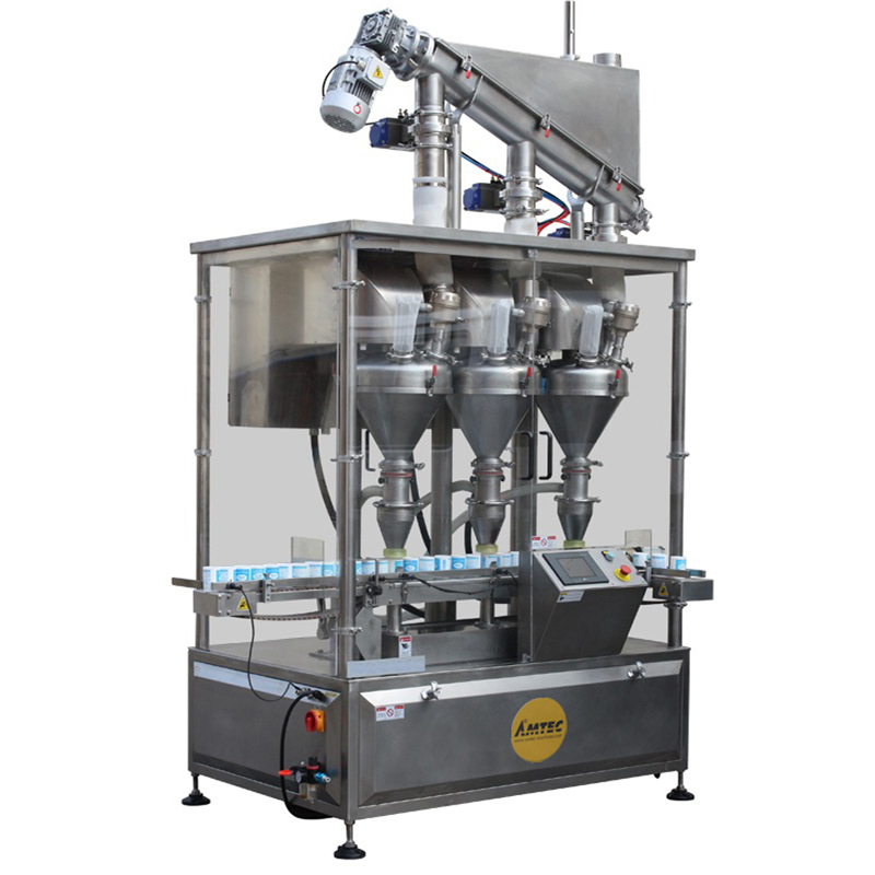 FILLINGmachine Fully Automatic straight transport Triple Auger Filler 10-500g
