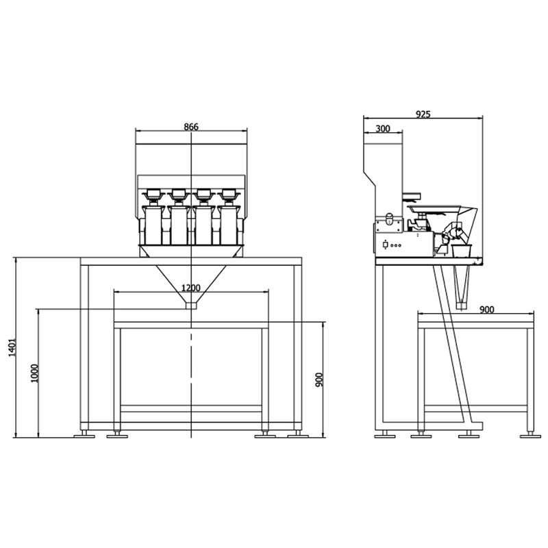 VERTIwrap platform for 2- and 4-head weighers